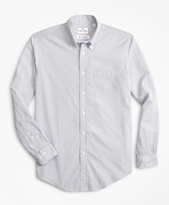 Luxury Collection Regent Fitted Sport Shirt, Button-Down Collar Foulard Print Blue