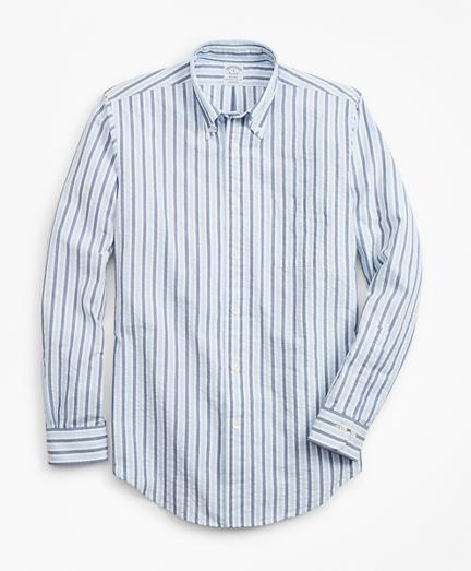 Regent Fit Bold Stripe Seersucker Sport Shirt