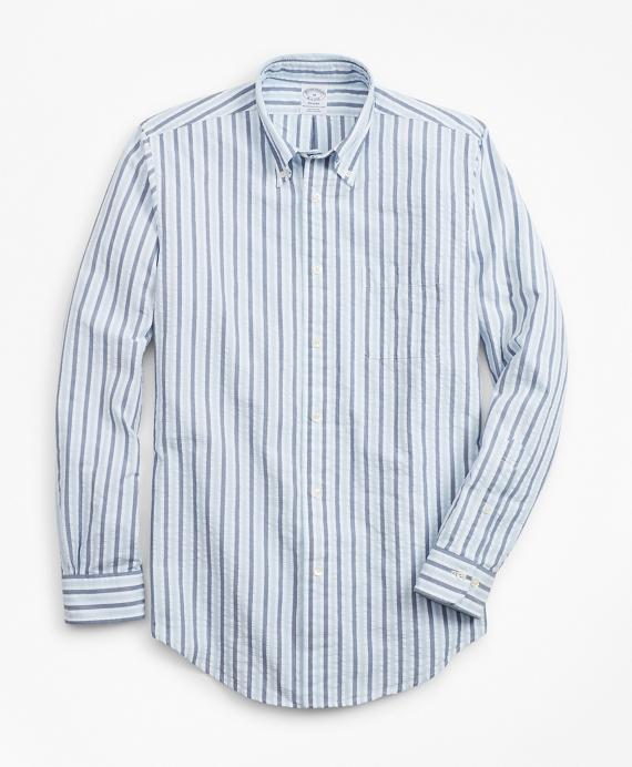 Regent Regular-Fit Sport Shirt, Bold Stripe Seersucker Blue