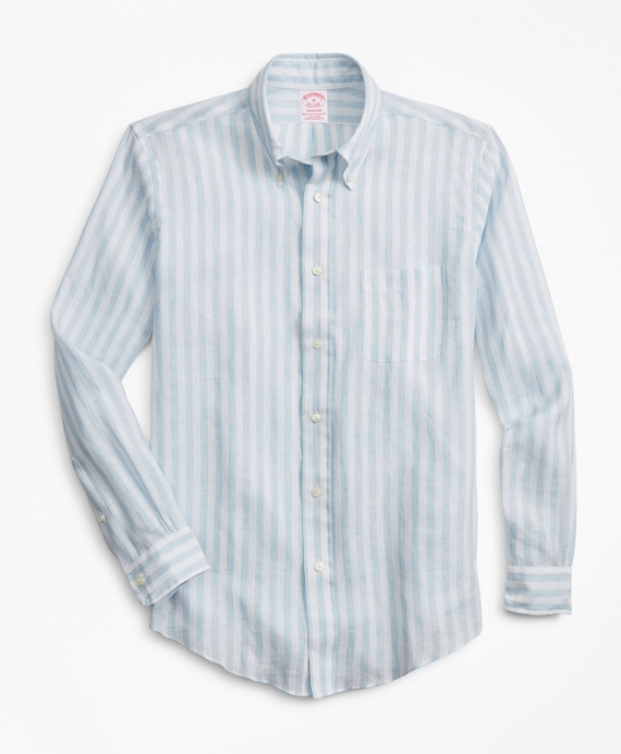73d2a228f Madison Fit Stripe Irish Linen Sport Shirt - Brooks Brothers