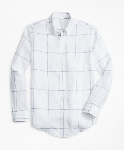 Milano Fit Large Windowpane Irish Linen Sport Shirt