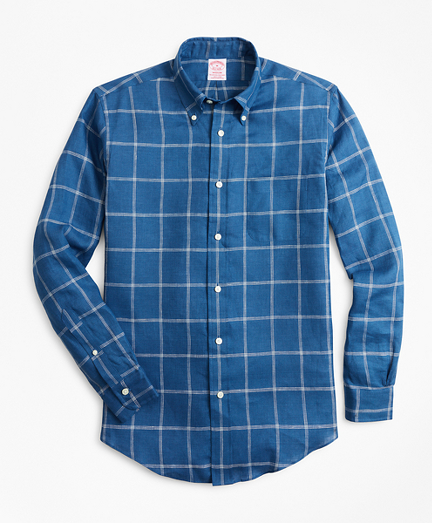 Madison Fit Double-Windowpane Irish Linen Sport Shirt
