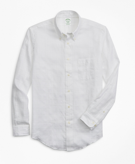 Milano Fit Textured Windowpane Irish Linen Sport Shirt