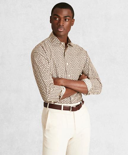 Golden Fleece® Regent Fit Brown Floral Sport Shirt