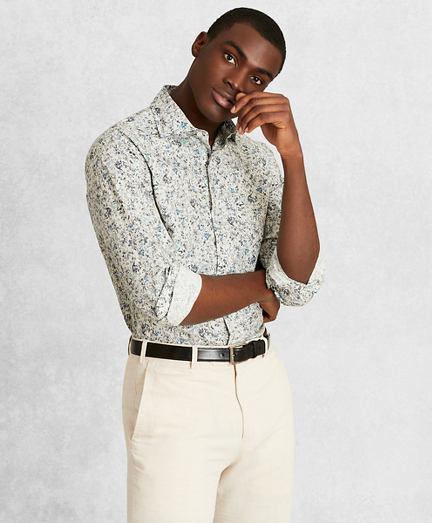 Golden Fleece® Regent Fit White Floral Sport Shirt