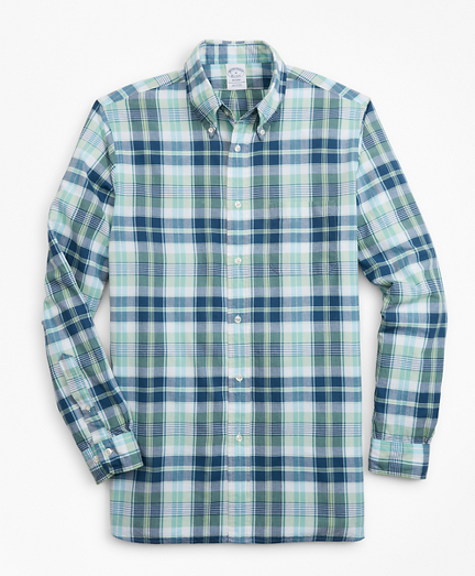 Regent Fit Green Madras Sport Shirt