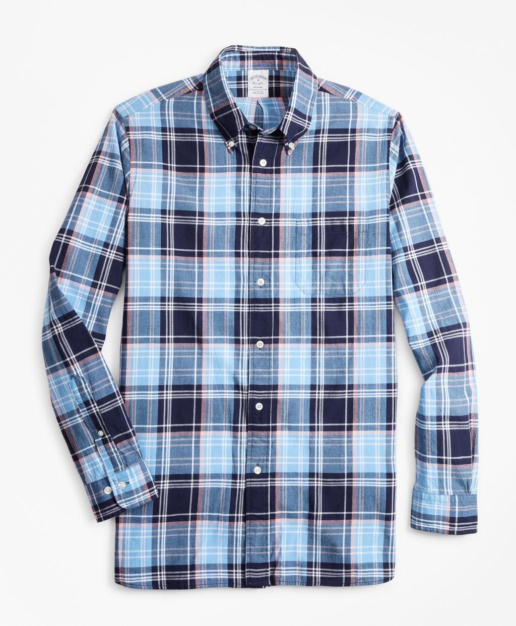 Mens Vintage Shirts – Retro Shirts Brooks Brothers Mens Slim Fit Blue Madras Sport Shirt $39.75 AT vintagedancer.com