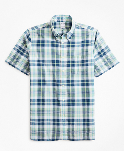 Regent Fit Green Madras Short-Sleeve Sport Shirt