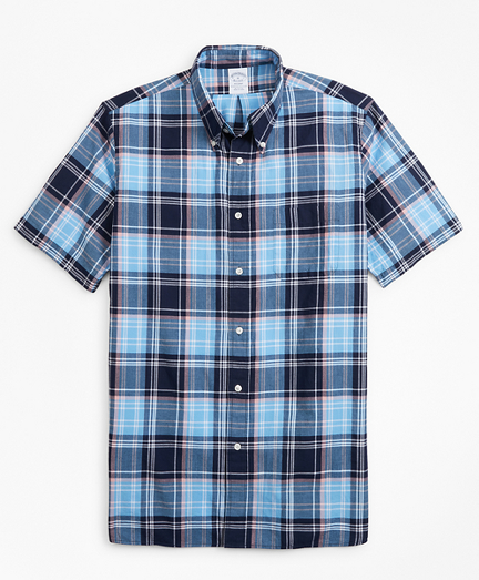 Regent Fit Blue Madras Short-Sleeve Sport Shirt