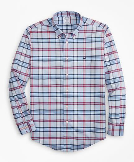 Non-Iron Regent Fit Vista Blue Plaid Sport Shirt