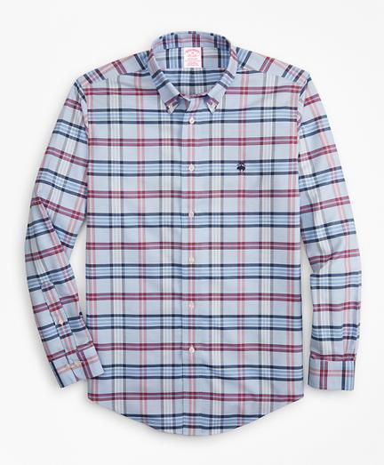 Non-Iron Madison Fit Vista Blue Plaid Sport Shirt