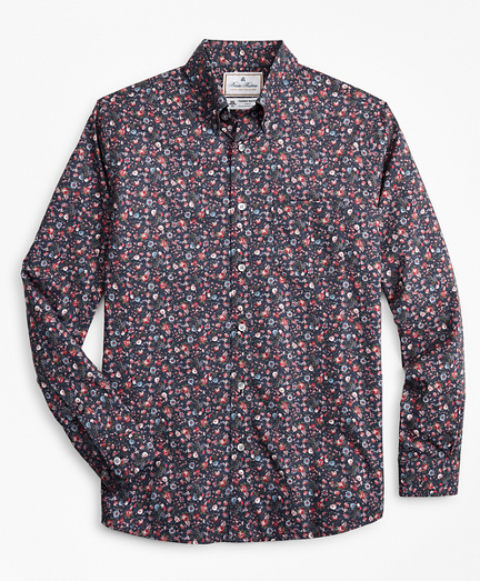 Luxury Collection Regent Fitted Sport Shirt, Button-Down Collar Rose Print