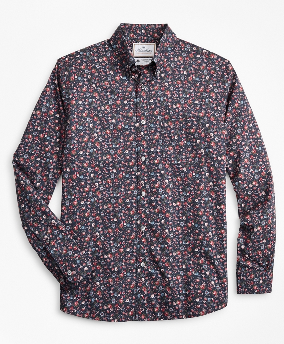 Luxury Collection Regent Fitted Sport Shirt, Button-Down Collar Rose Print Navy