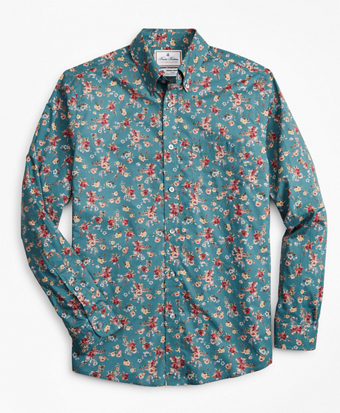 Luxury Collection Regent Fitted Sport Shirt, Button-Down Collar Teal Floral Print