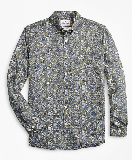 Luxury Collection Milano Slim-Fit Sport Shirt, Button-Down Collar Paisley Print