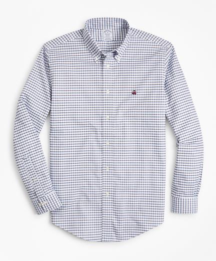 Non-Iron Regent Fit Double-Windowpane Sport Shirt
