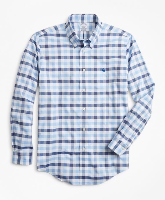 Non-Iron Regent Fit Multi-Gingham Dobby Sport Shirt Blue