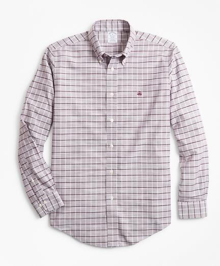 Non-Iron Regent Fit Windowpane Slub Oxford Sport Shirt
