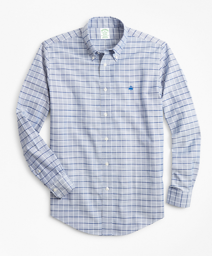 Non-Iron Milano Fit Windowpane Slub Oxford Sport Shirt