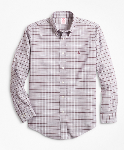 Non-Iron Madison Fit Windowpane Slub Oxford Sport Shirt