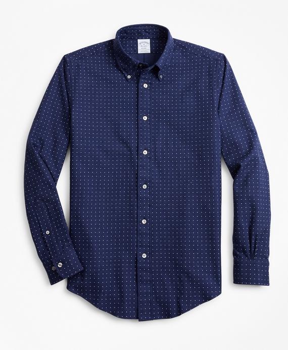 Regent Fit Dot Print Flannel Sport Shirt Navy