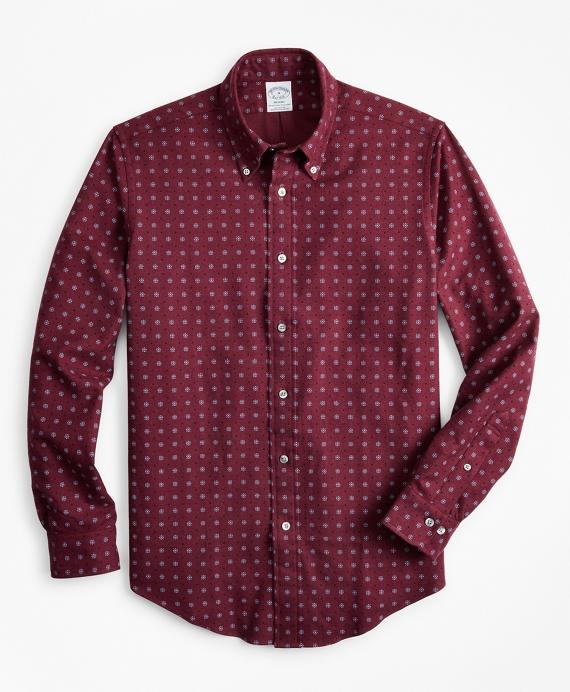 Regent Fit Foulard Print Flannel Sport Shirt Wine