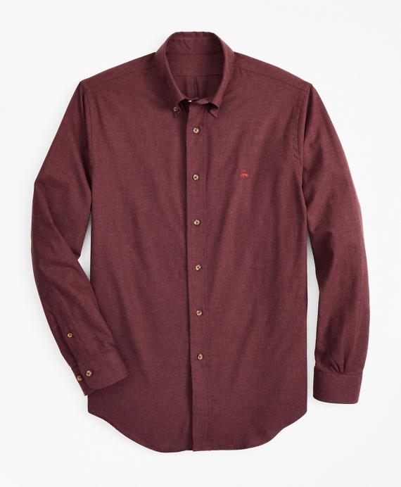 Regent Fit Brushed Flannel Sport Shirt Wine