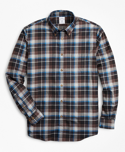 Regent Fit Grey Plaid Brushed Flannel Sport Shirt