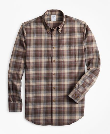 Regent Fit Tan Plaid Brushed Flannel Sport Shirt