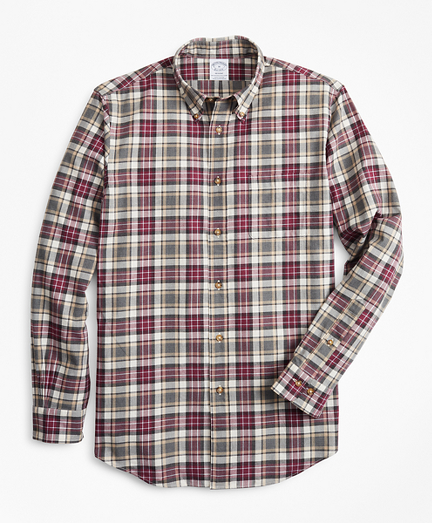 Regent Fit Multi-Plaid Brushed Flannel Sport Shirt