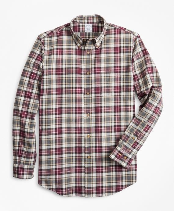 Regent Fit Multi-Plaid Brushed Flannel Sport Shirt Wine