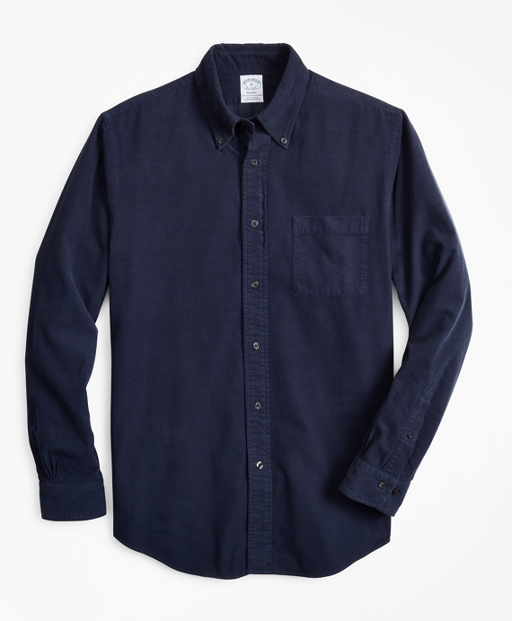 Regent Fit Garment-Dyed Corduroy Sport Shirt Navy