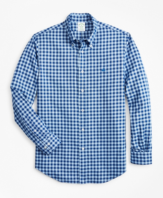 Milano Fit Brushed Gingham Sport Shirt Sodalite