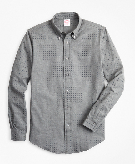 Madison Fit Dot Print Flannel Sport Shirt