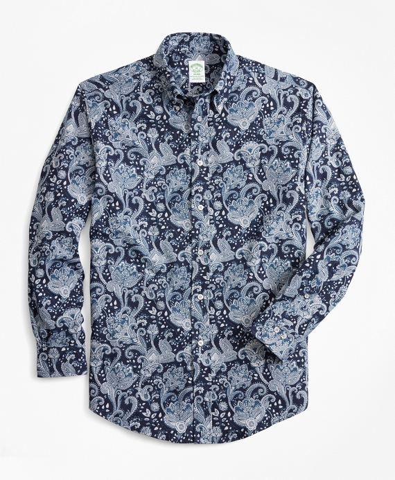 Milano Fit Paisley Flannel Sport Shirt Navy