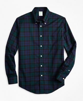 Non-Iron Milano Fit Black Watch Tartan Sport Shirt