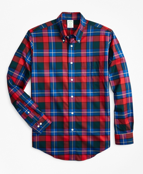 Non-Iron Milano Fit Kilgour Tartan Sport Shirt Red