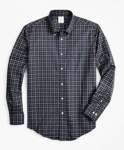 Non-Iron Milano Fit Navy Check Sport Shirt