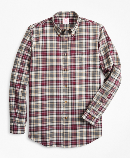 Madison Fit Multi-Plaid Brushed Flannel Sport Shirt