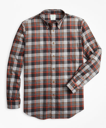 Milano Fit Grey Plaid Brushed Flannel Sport Shirt