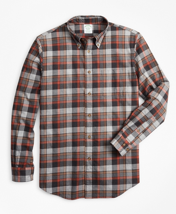 Milano Fit Grey Plaid Brushed Flannel Sport Shirt Grey