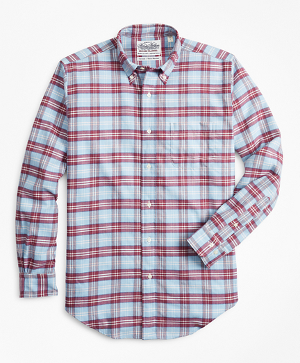 Madison Fit Plaid Flannel Sport Shirt