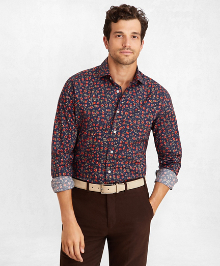 Golden Fleece® Regent Fit Navy Floral Sport Shirt
