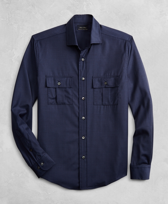 Golden Fleece® BrooksTech™ Two-Pocket Wool Sport Shirt Navy
