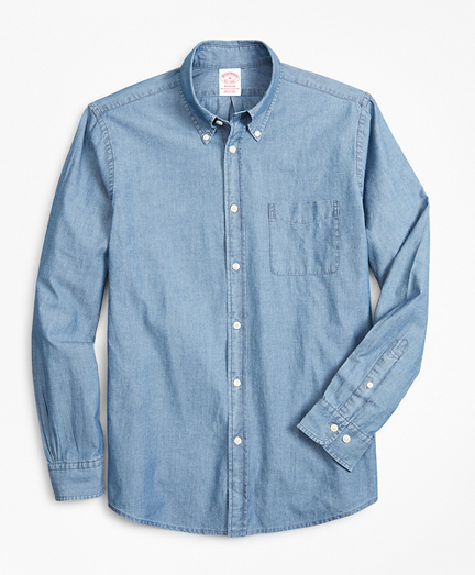 Madison Classic-Fit Sport Shirt, Indigo Chambray