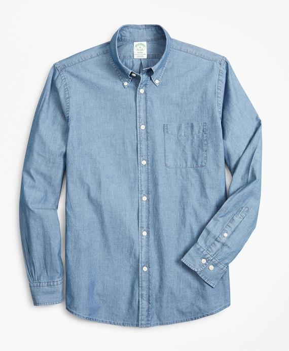 Milano Slim-Fit Sport Shirt, Indigo Chambray Blue