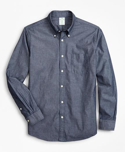 Milano Slim-Fit Sport Shirt, Indigo Chambray