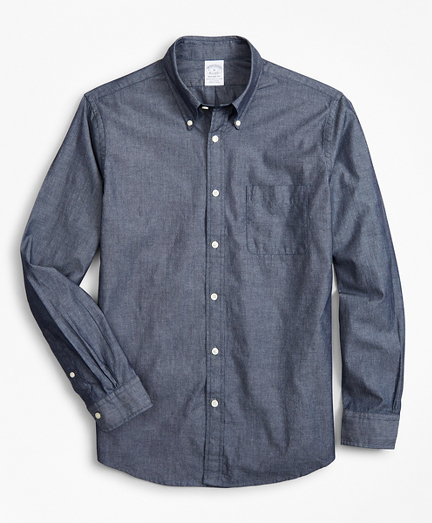 Regent Fitted Sport Shirt, Indigo Chambray