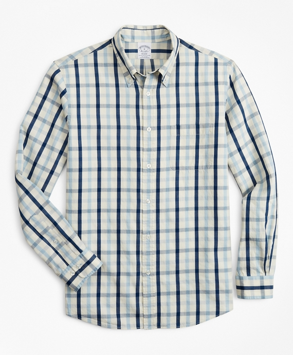 Regent Fitted Sport Shirt, Indigo Multi-Gingham Blue