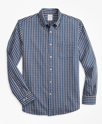 Regent Fitted Sport Shirt, Indigo Micro-Check